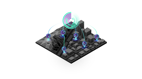 Illustrated 3D diagram shows a miniature city, identifies several areas with colorful lines, and combines data from those sources into a graph